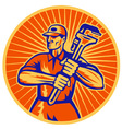 Plumber with monkey wrench retro vector