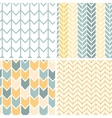 Set of four gray yellow chevron patterns and vector