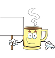 Cartoon coffee cup holding a sign vector