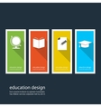 Four colored icons depicting items for education vector