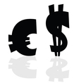 Euro and dollar symbol in black color vector