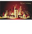 Christmas card with town vector