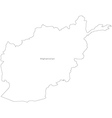 Black white afghanistan outline map vector