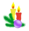 Candles and christmas branch vector