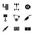 Black car parts icons set vector