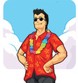 Tropical island tourist on vacation or holiday vector
