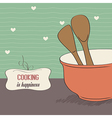 Background with kitchen cooking wooden utensils vector