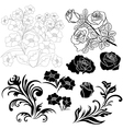 Set of isolated floral elements for design vector