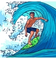 Surfer man background vector