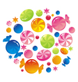 Allsorts from colorful sweets vector