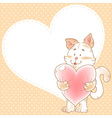 Card with smiling toy cat holding heart vector