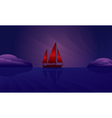 Sailing ship on the night skyline vector