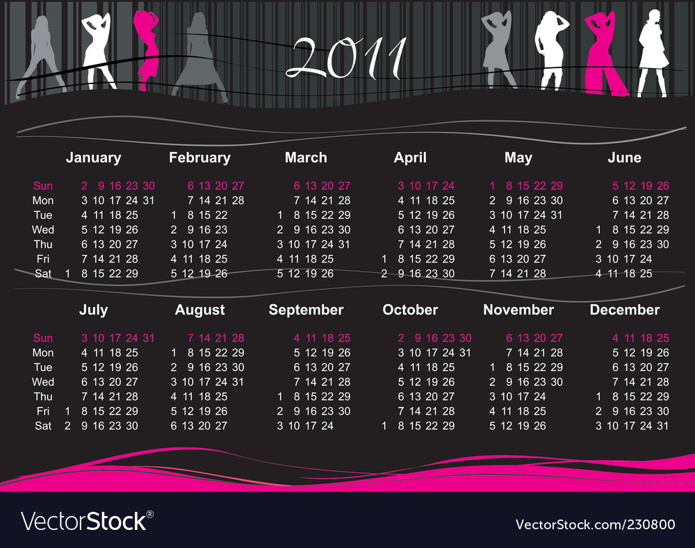 2011 fashion calendar vector | Price: 1 Credit (USD $1)