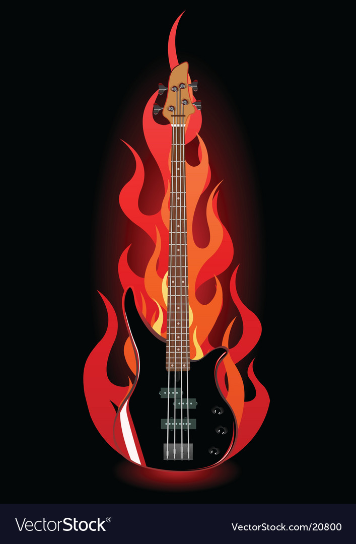 Bass guitar in flames vector | Price: 1 Credit (USD $1)