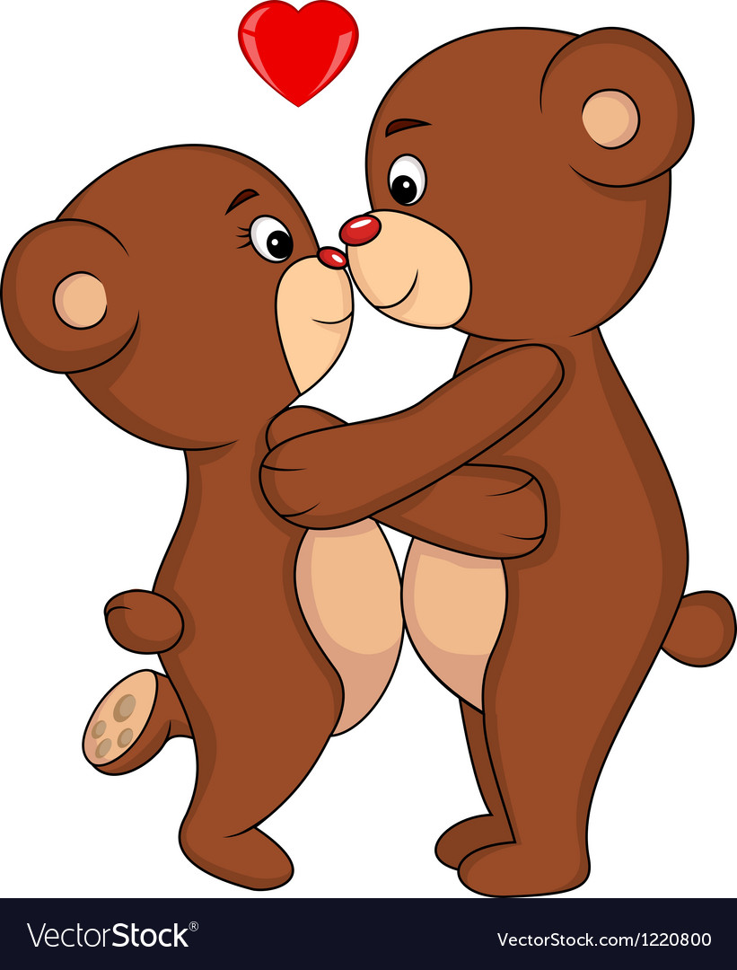 Bear couple kissing vector | Price: 1 Credit (USD $1)