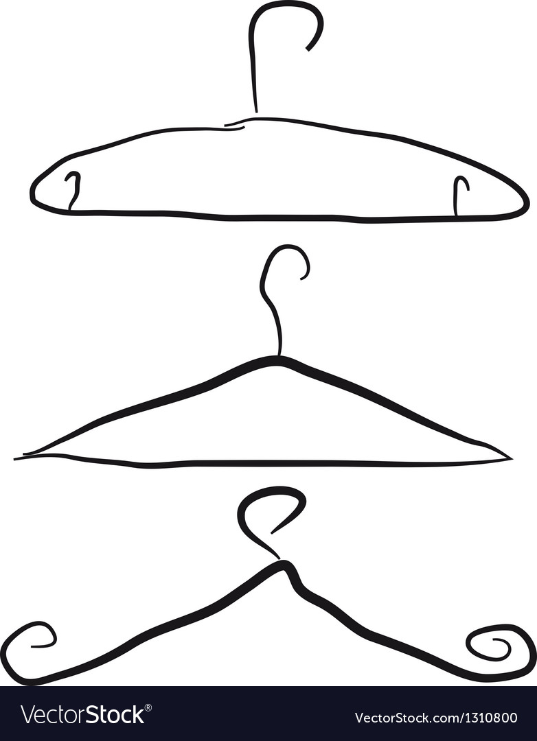 Black hangers isolated over white background vector | Price: 1 Credit (USD $1)