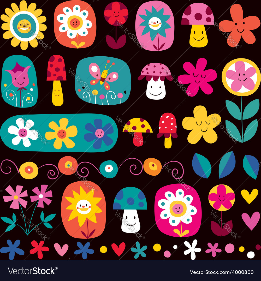 Cute flowers pattern 4 vector | Price: 1 Credit (USD $1)