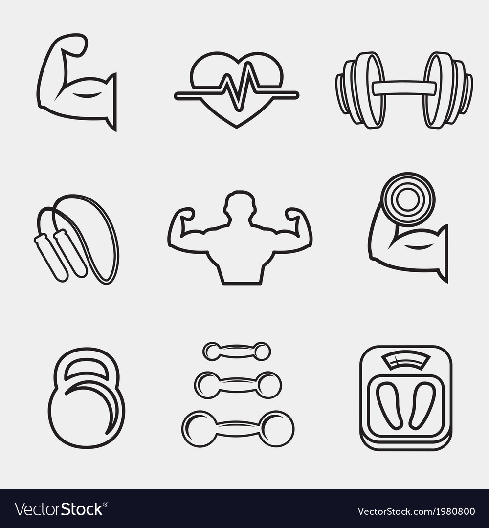 Fitness bodybuilding sport icons set vector | Price: 1 Credit (USD $1)