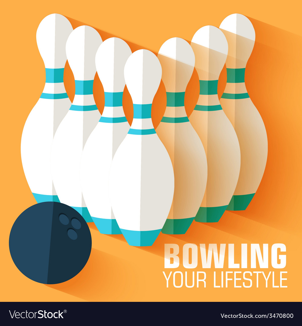Flat sport bowling background concept desig vector | Price: 1 Credit (USD $1)