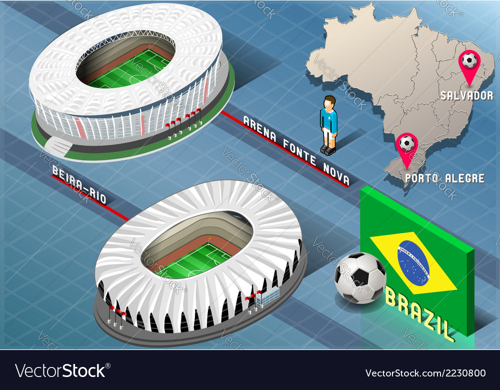 Isometric stadium of salvador and porto alegre vector | Price: 1 Credit (USD $1)