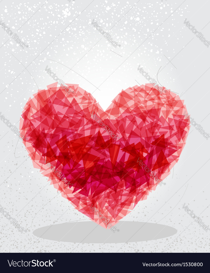 Red heart geometric shape vector | Price: 1 Credit (USD $1)