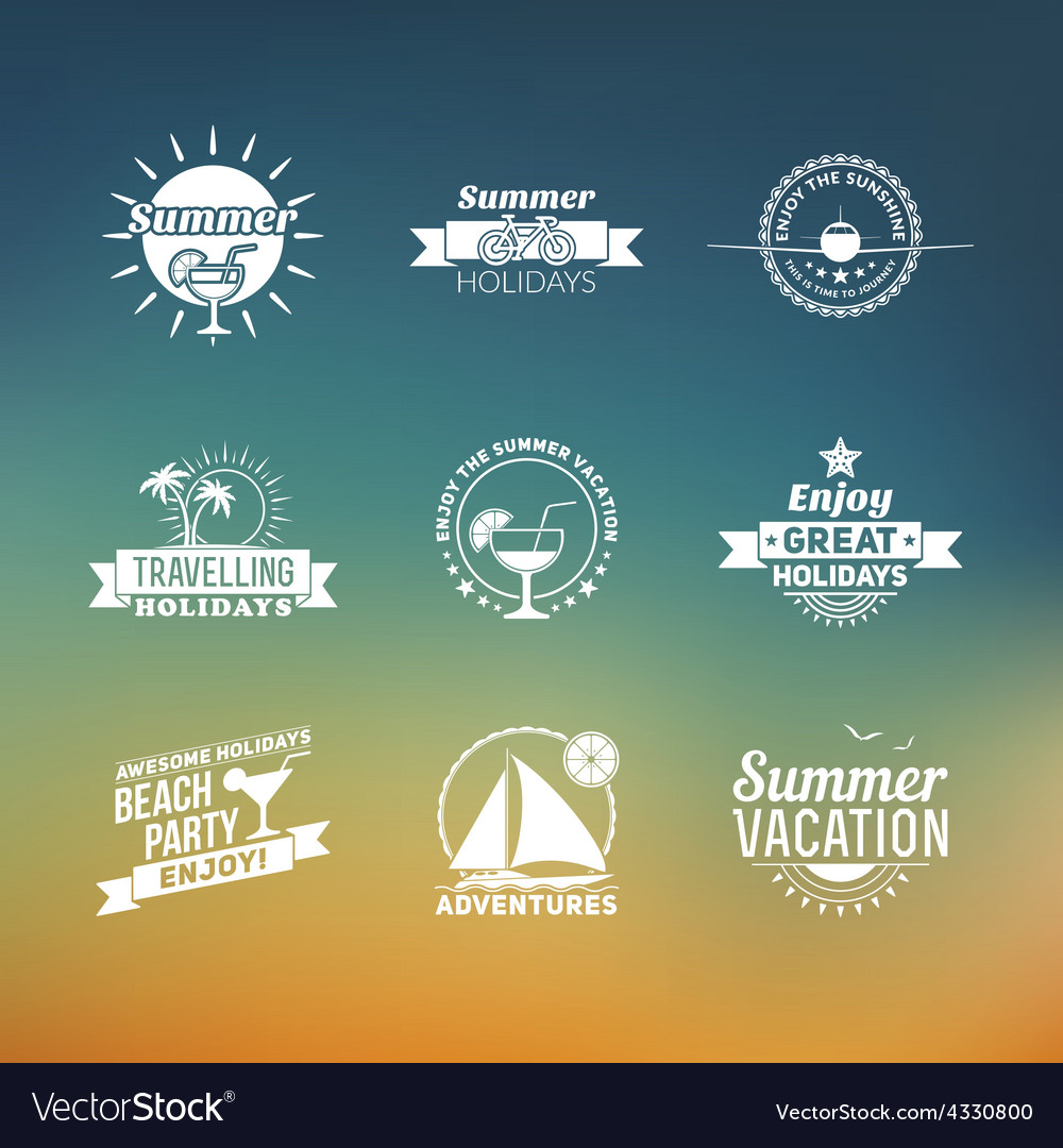 Set of summer retro design elements vintage vector | Price: 1 Credit (USD $1)
