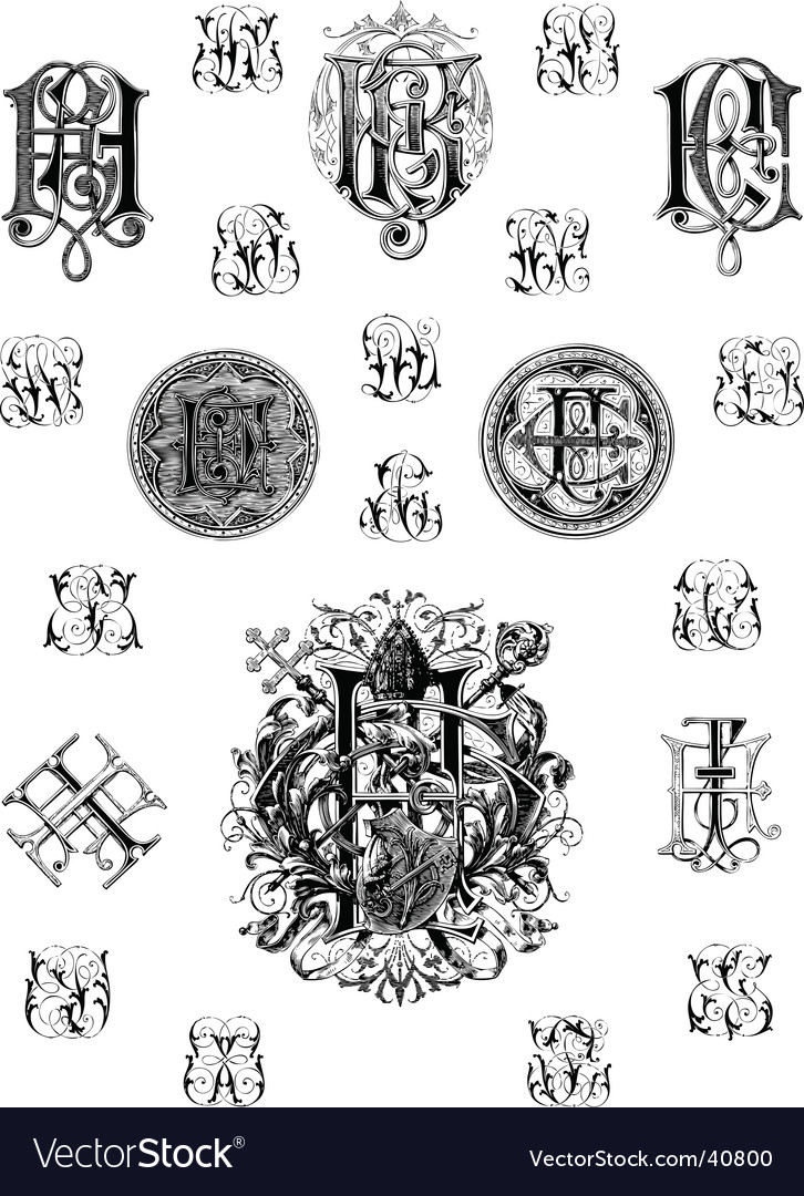 Vintage monogram set three vector | Price: 1 Credit (USD $1)