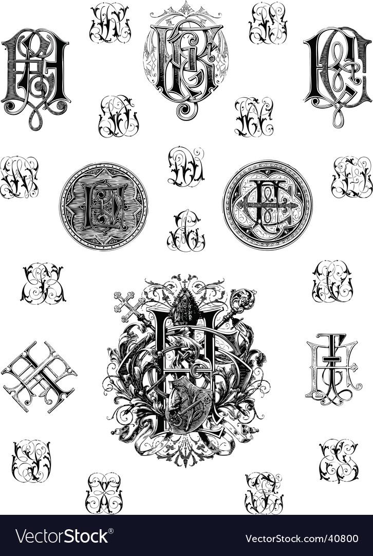 Vintage monogram set three vector | Price: 1 Credit (USD $1)