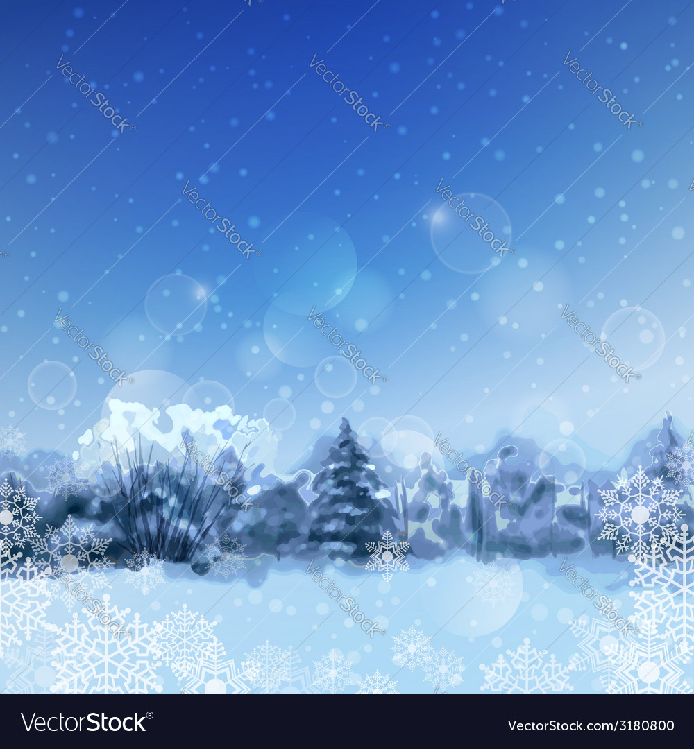 Watercolor snowy forest vector | Price: 1 Credit (USD $1)