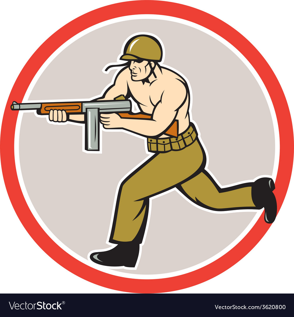 World war two soldier american tommy gun vector | Price: 1 Credit (USD $1)