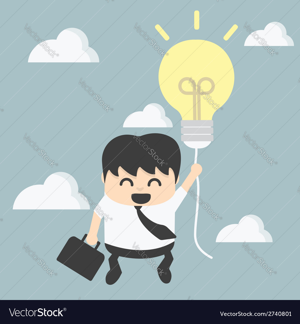 Businessman with a success balloon vector | Price: 1 Credit (USD $1)