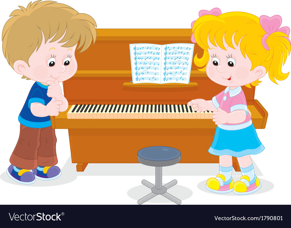 Children play a piano vector | Price: 1 Credit (USD $1)