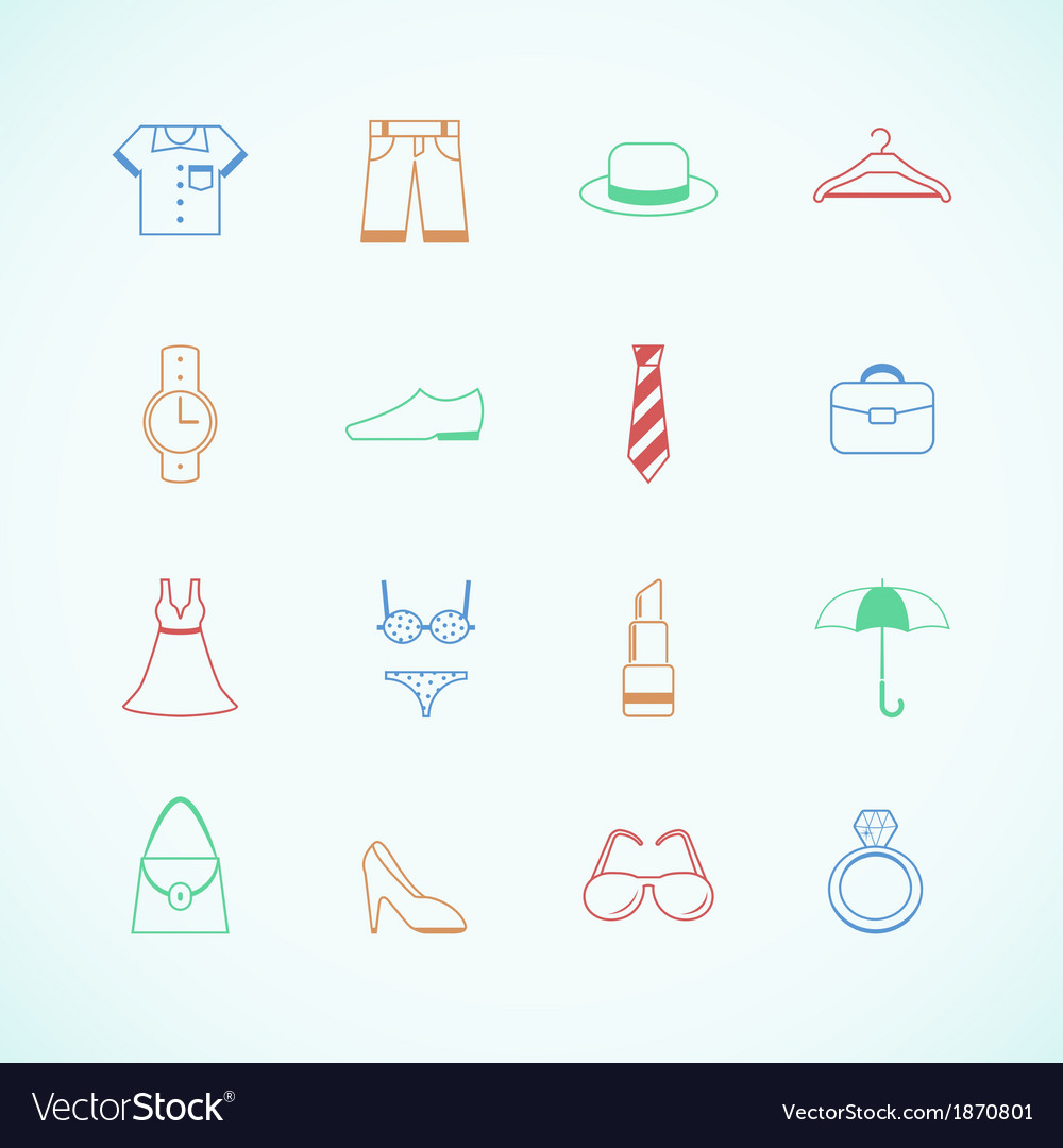 Clothes accessories pictograms vector | Price: 1 Credit (USD $1)