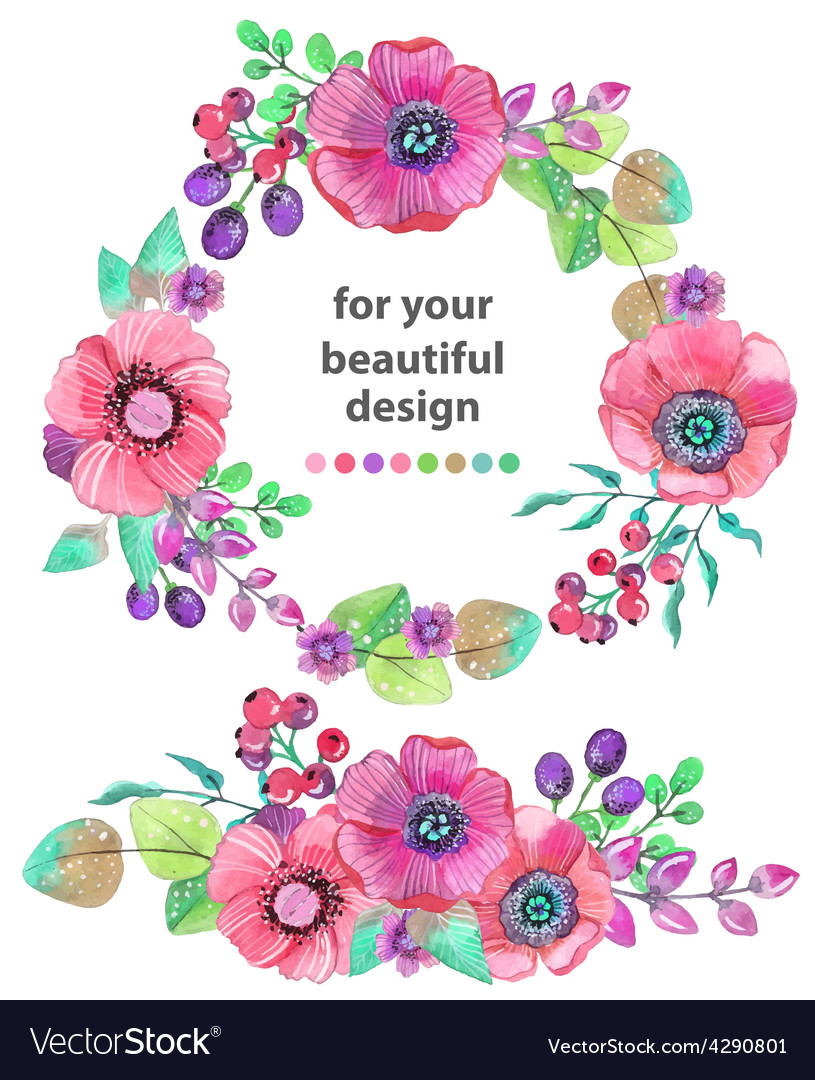 Colorful floral card with leaves and flowers vector | Price: 1 Credit (USD $1)