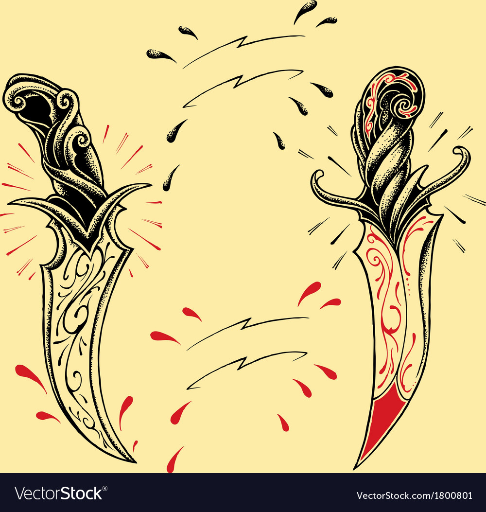 Daggers oldskool tattoo style vector | Price: 1 Credit (USD $1)
