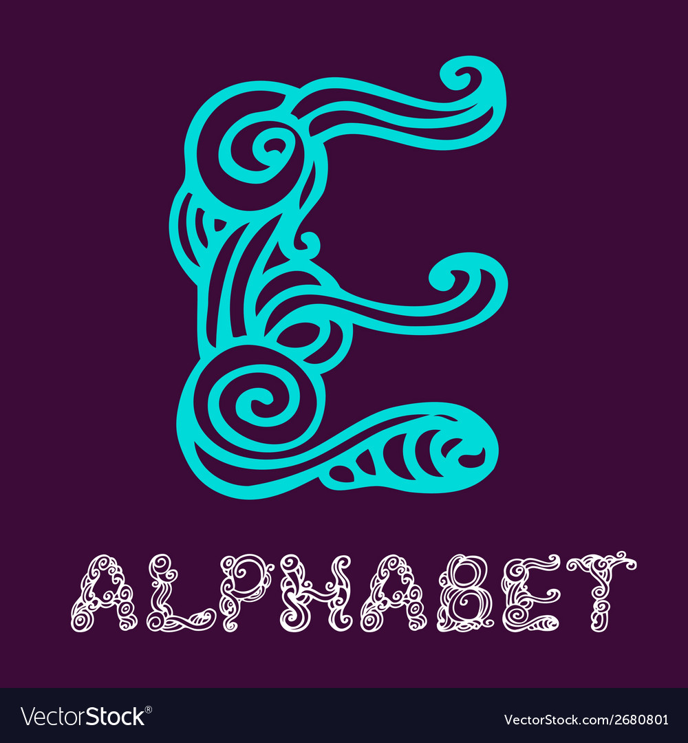 Doodle hand drawn sketch alphabet letter e vector | Price: 1 Credit (USD $1)