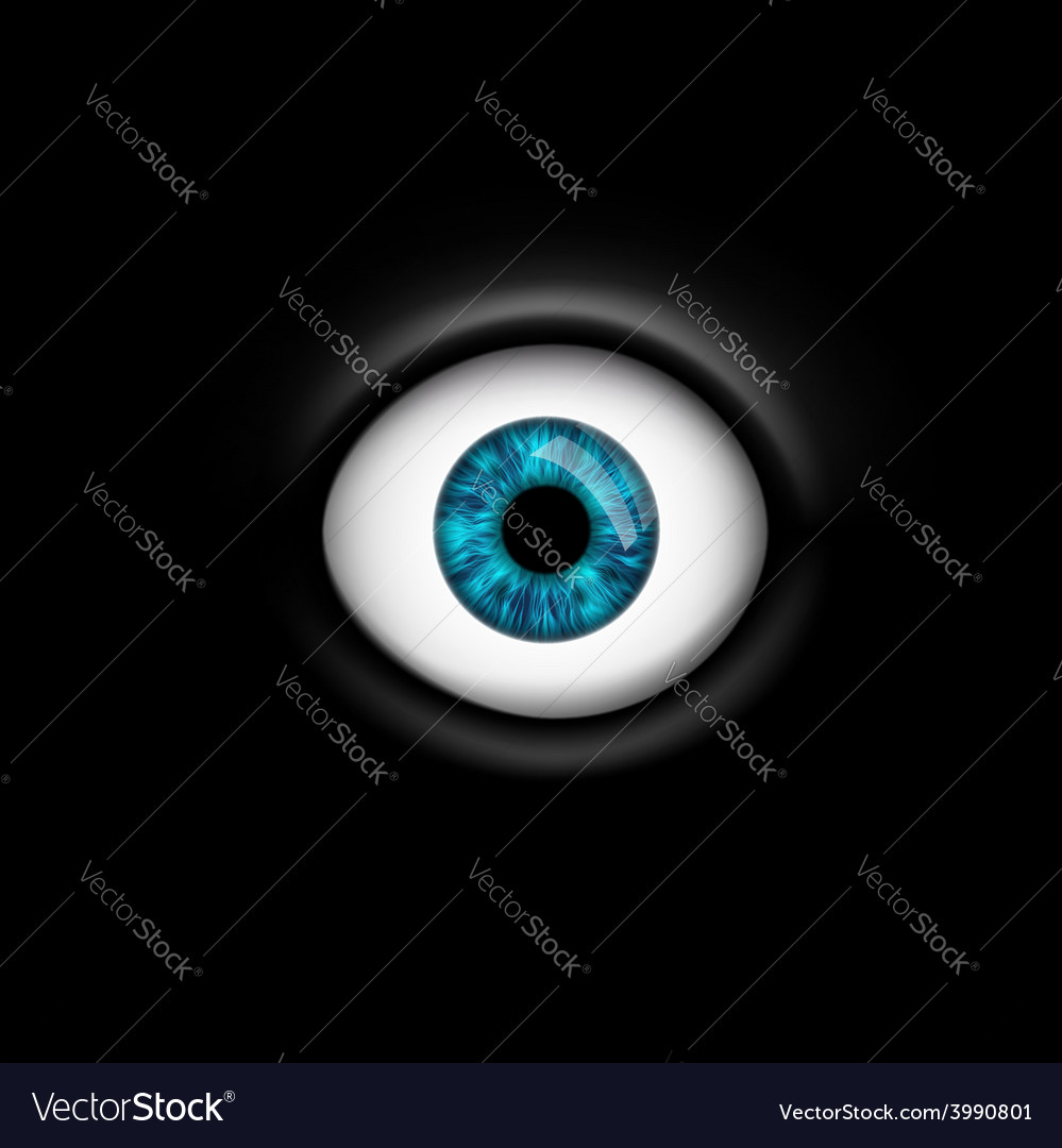 Human eye isolated on black background vector | Price: 1 Credit (USD $1)