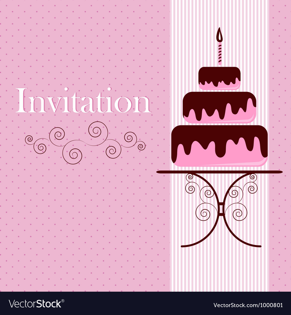 Invitation card with cake vector | Price: 1 Credit (USD $1)