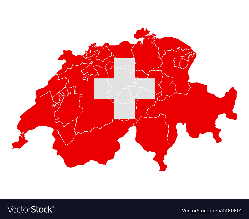 Map and flag of switzerland vector | Price: 1 Credit (USD $1)