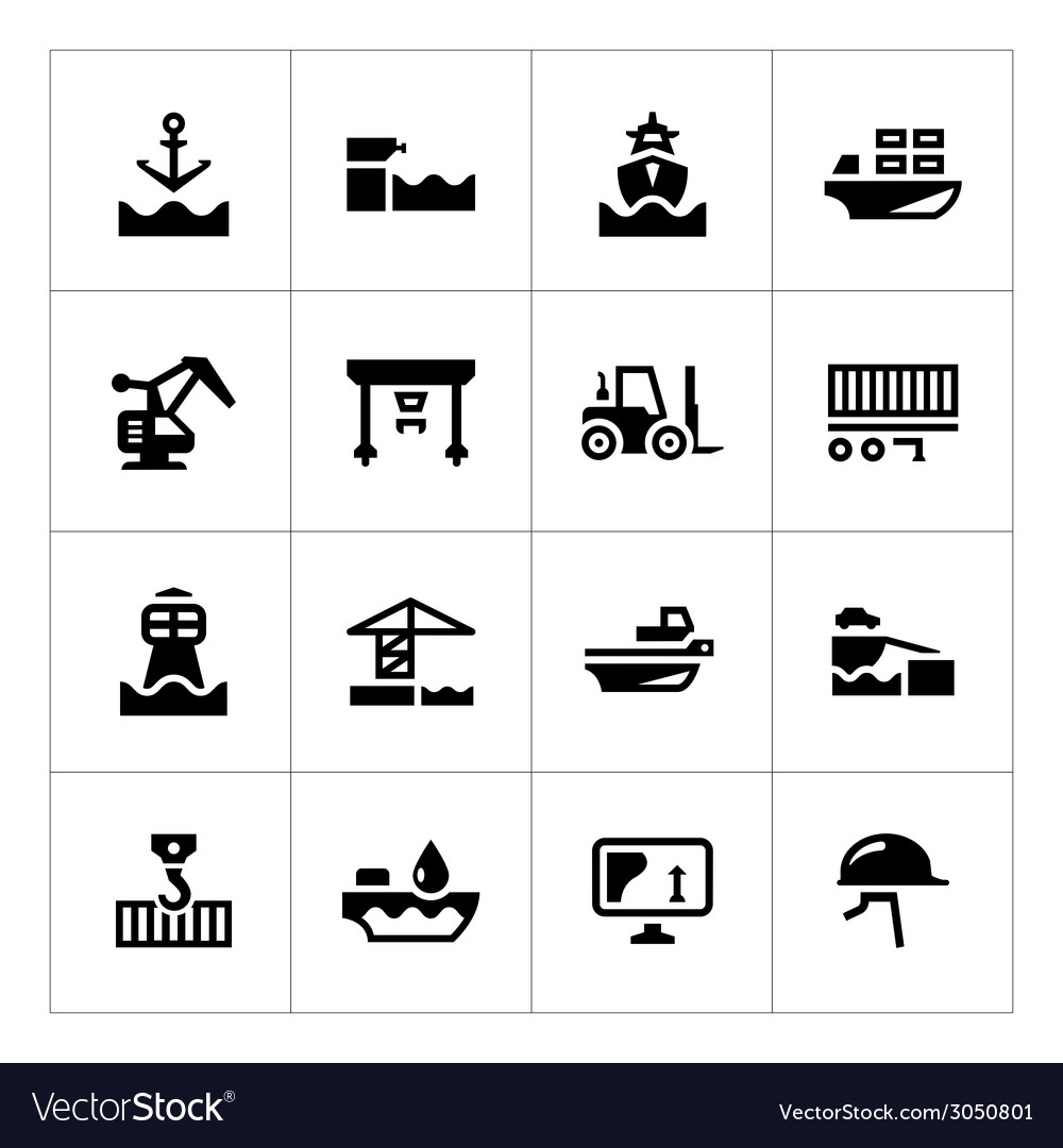 Set icons of seaport vector   Price: 1 Credit (USD $1)