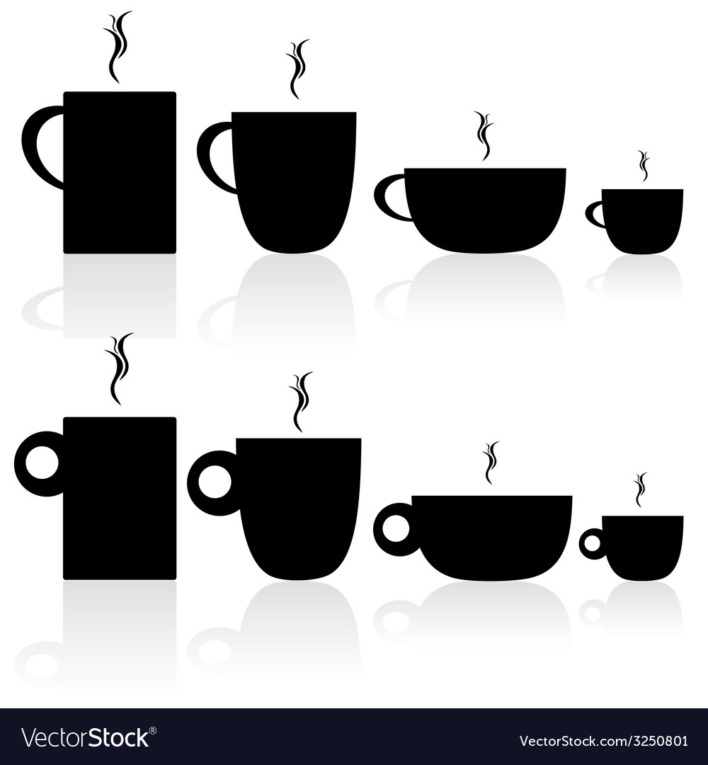 Set of coffee and tea cup black silhouette vector | Price: 1 Credit (USD $1)