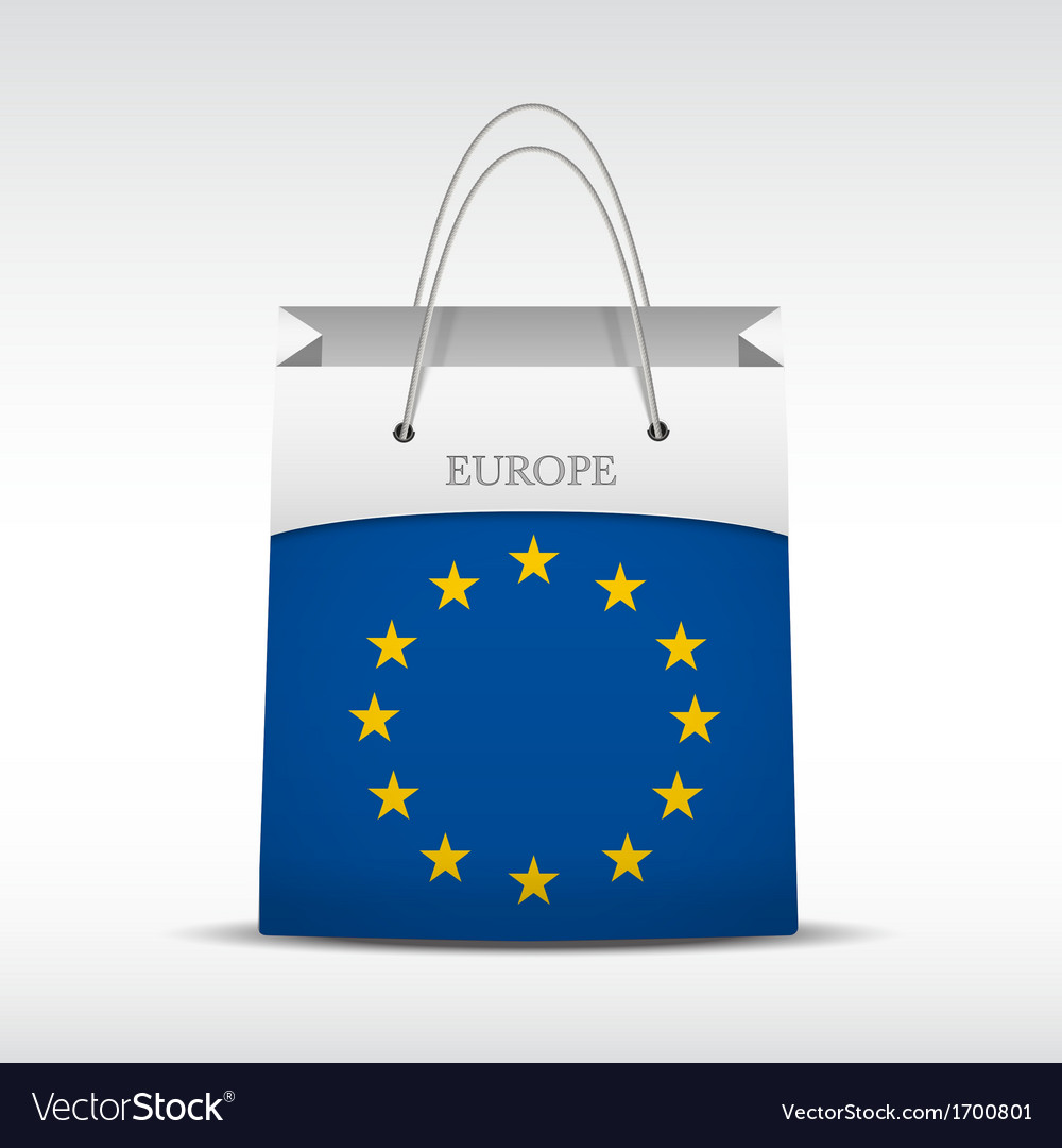 Shopping bag with flag europe union vector | Price: 1 Credit (USD $1)