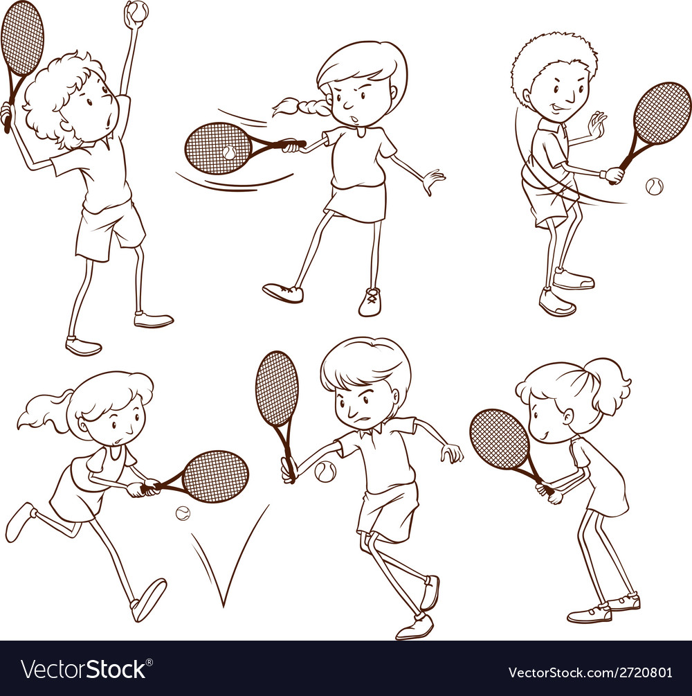 Sketches of people playing tennis vector | Price: 1 Credit (USD $1)