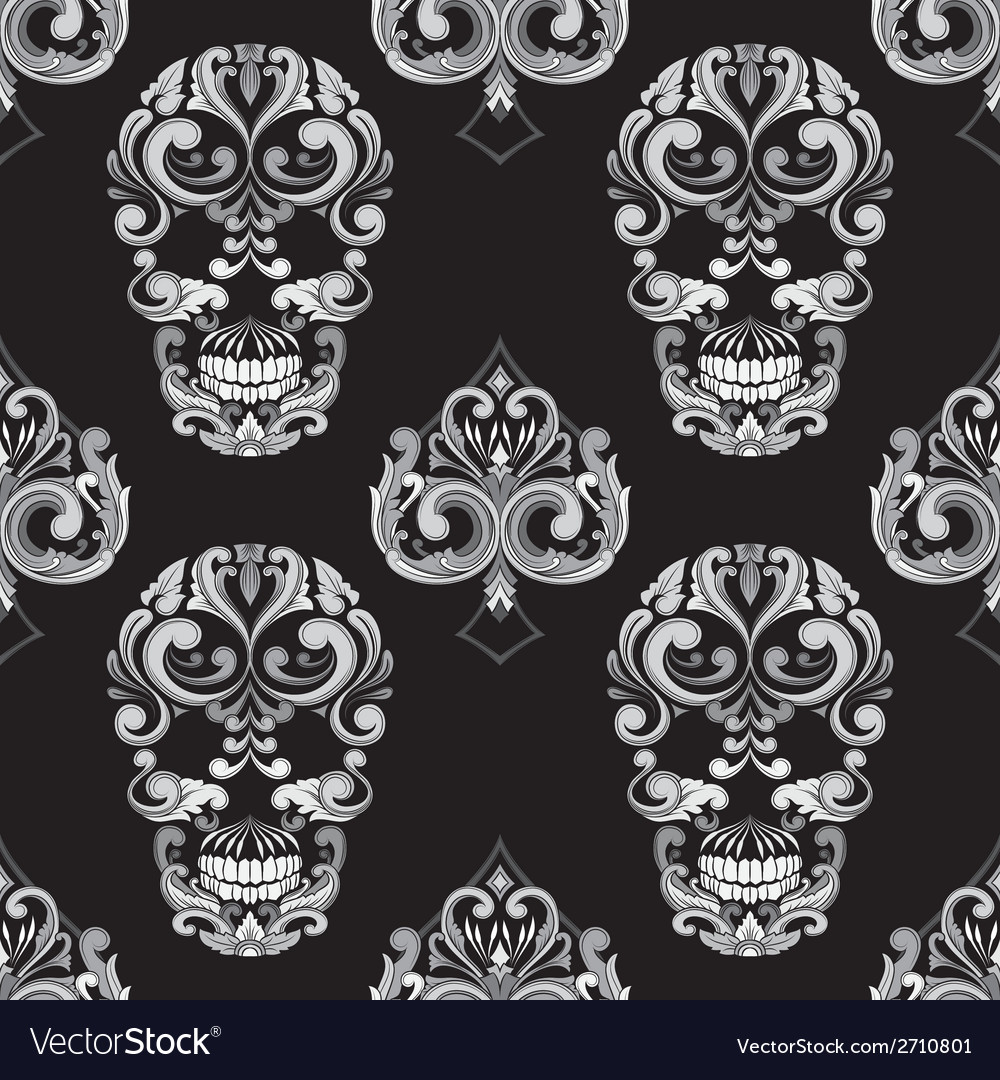 Skull and spades ornamental pattern vector | Price: 1 Credit (USD $1)