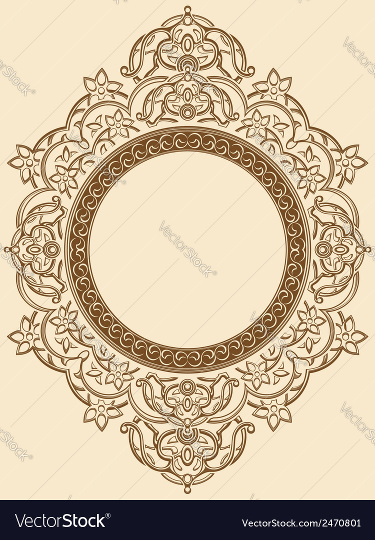 Vintage floral circle ornament vector | Price: 1 Credit (USD $1)