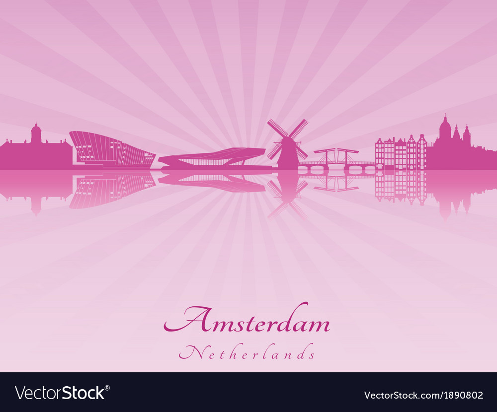 Amsterdam skyline in radiant orchid vector | Price: 1 Credit (USD $1)
