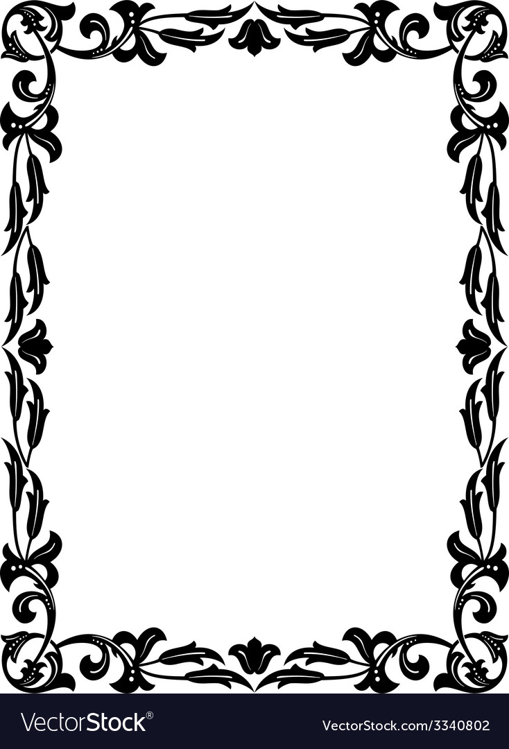 Calligraphy penmanship curly baroque frame black vector | Price: 1 Credit (USD $1)