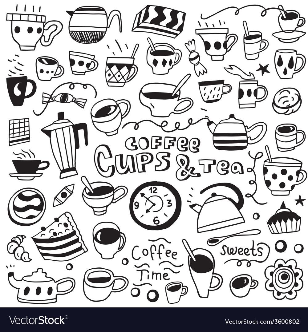 Coffee cups doodles vector | Price: 1 Credit (USD $1)