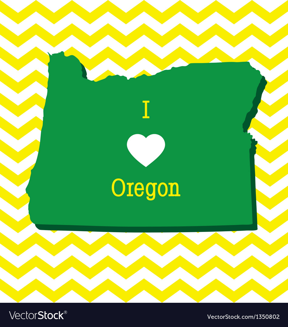 Cute yellow chevron i love oregon card vector | Price: 1 Credit (USD $1)