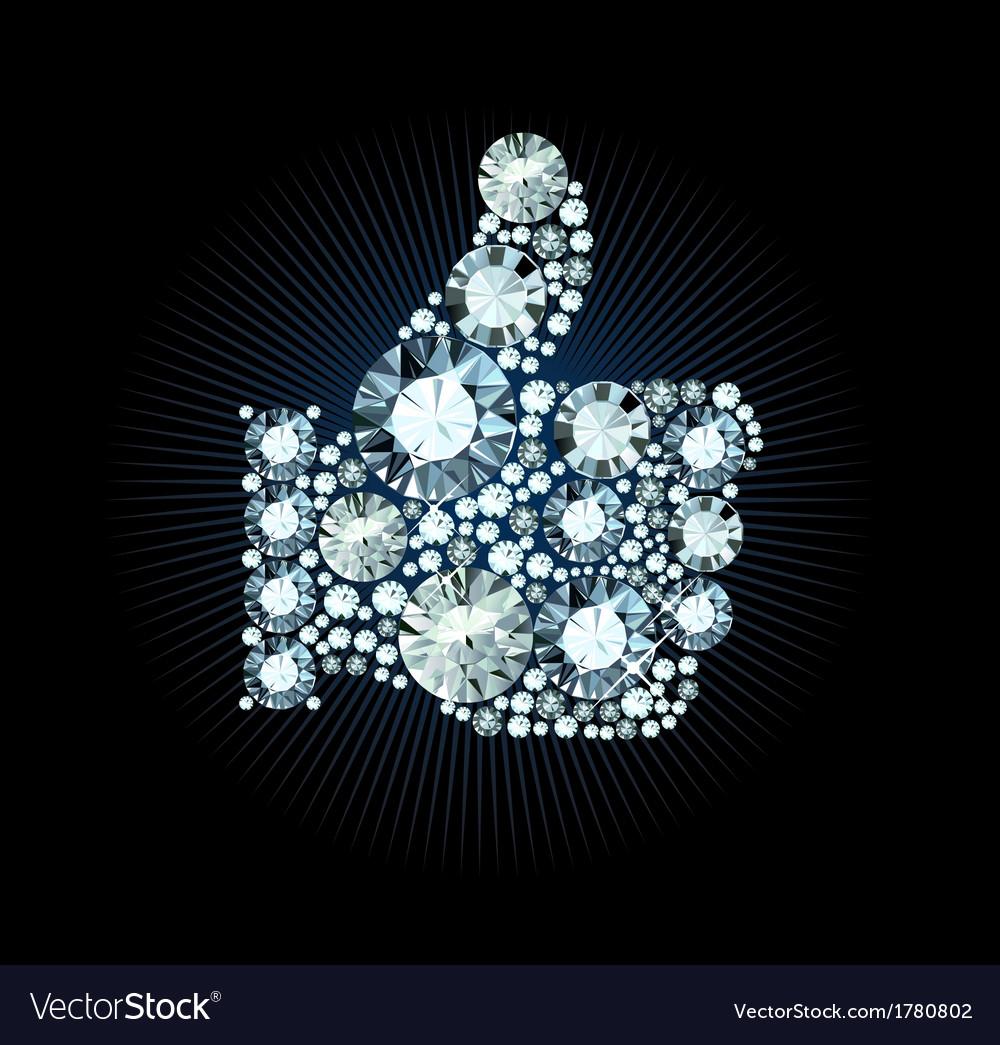 Diamond like thumb up sign vector | Price: 1 Credit (USD $1)